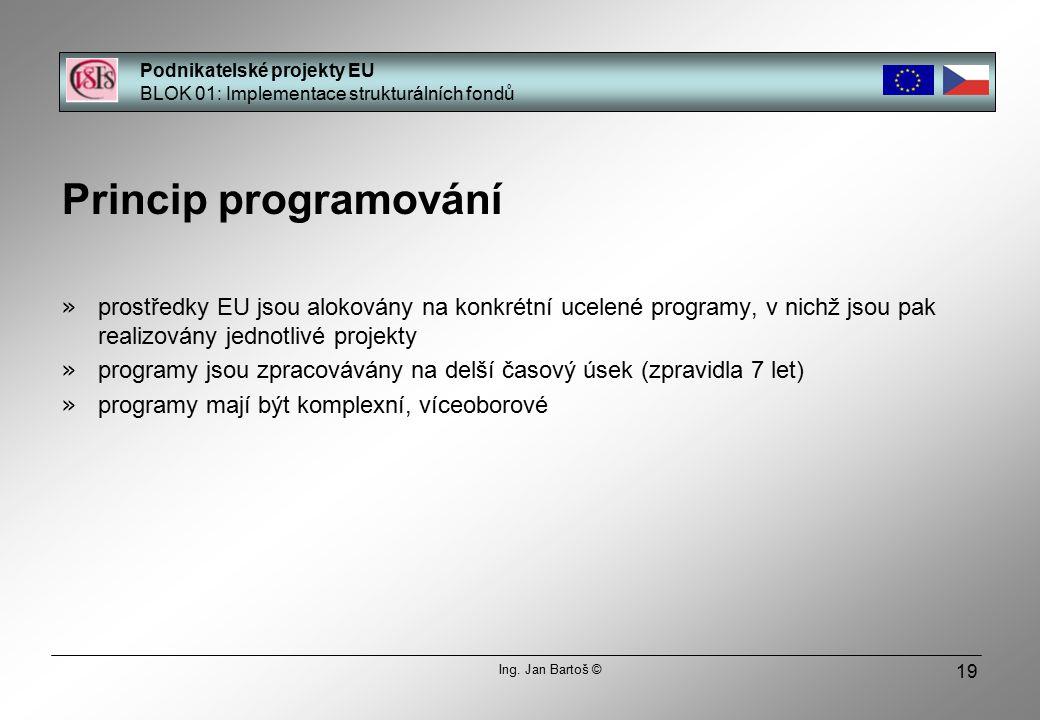 19 Princip programování » prostředky EU jsou alokovány na konkrétní ucelené programy, v nichž jsou pak realizovány jednotlivé projekty » programy jsou zpracovávány na delší časový úsek (zpravidla 7 let) » programy mají být komplexní, víceoborové Podnikatelské projekty EU BLOK 01: Implementace strukturálních fondů Ing.