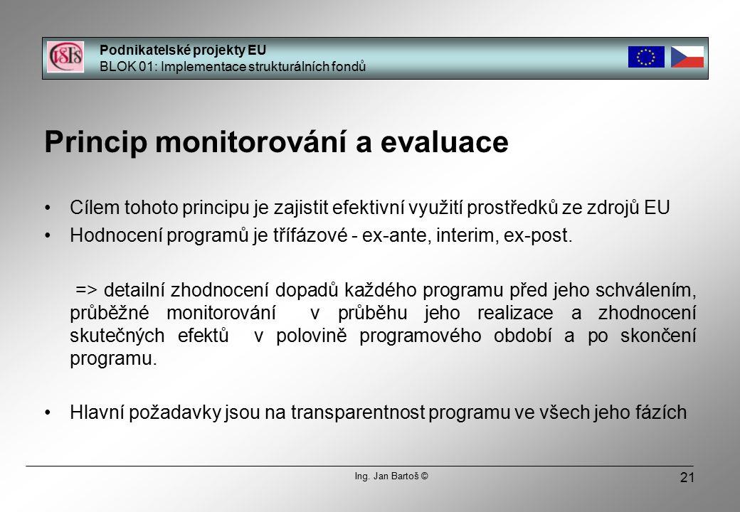 21 Princip monitorování a evaluace Cílem tohoto principu je zajistit efektivní využití prostředků ze zdrojů EU Hodnocení programů je třífázové - ex-ante, interim, ex-post.