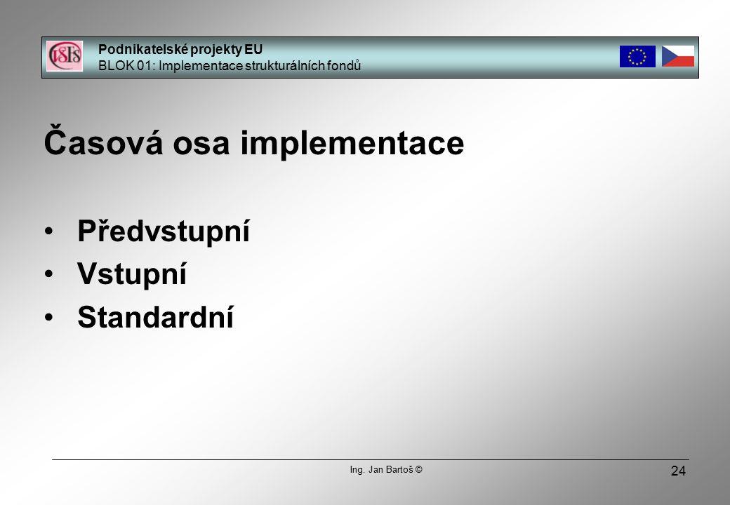 24 Časová osa implementace Předvstupní Vstupní Standardní Podnikatelské projekty EU BLOK 01: Implementace strukturálních fondů Ing.