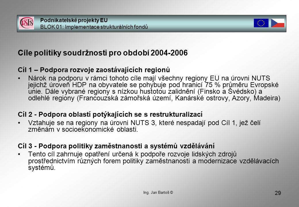 29 Cíle politiky soudržnosti pro období 2004-2006 Cíl 1 – Podpora rozvoje zaostávajících regionů Nárok na podporu v rámci tohoto cíle mají všechny regiony EU na úrovni NUTS jejichž úroveň HDP na obyvatele se pohybuje pod hranicí 75 % průměru Evropské unie.