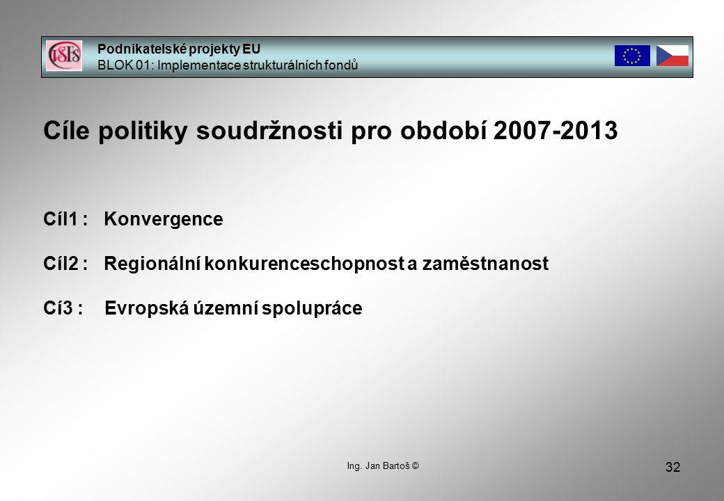32 Cíle politiky soudržnosti pro období 2007-2013 Cíl1 : Konvergence Cíl2 : Regionální konkurenceschopnost a zaměstnanost Cí3 : Evropská územní spolupráce Podnikatelské projekty EU BLOK 01: Implementace strukturálních fondů Ing.