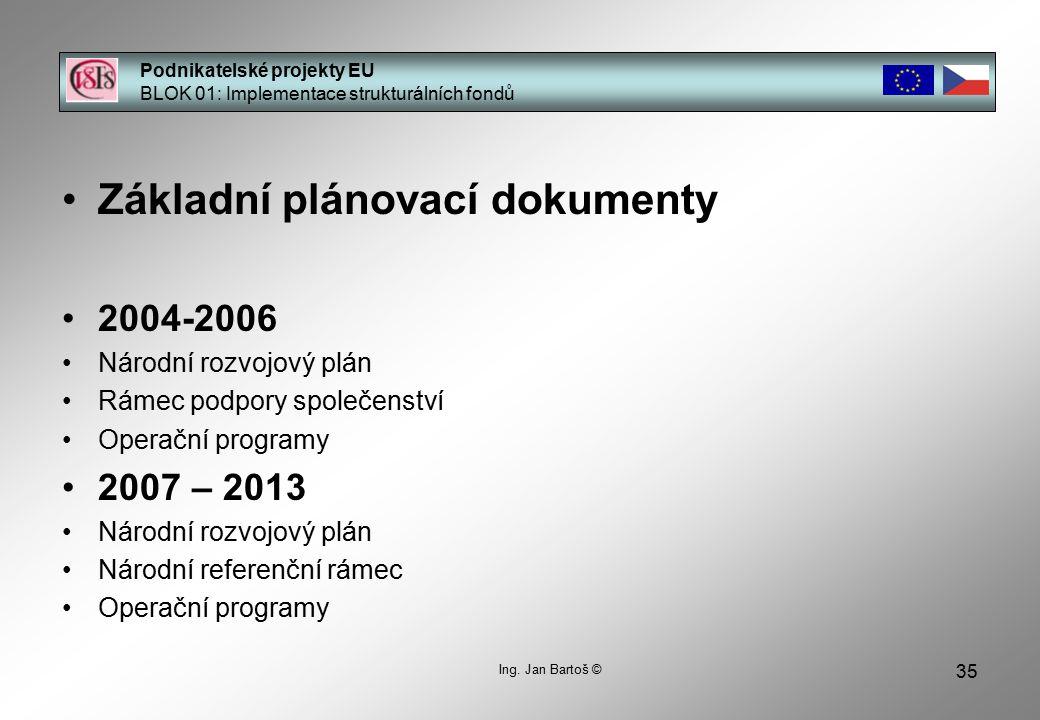 35 Podnikatelské projekty EU BLOK 01: Implementace strukturálních fondů Ing.