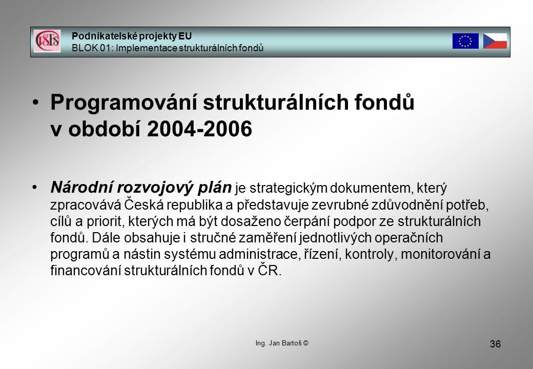 36 Podnikatelské projekty EU BLOK 01: Implementace strukturálních fondů Ing.
