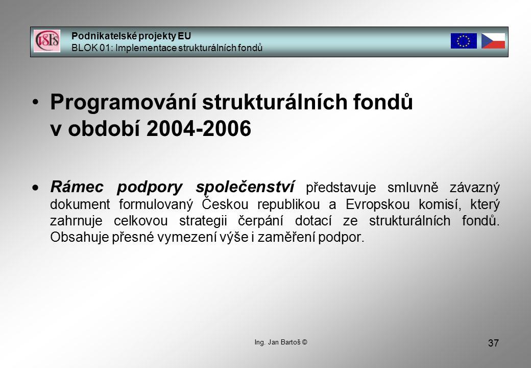 37 Podnikatelské projekty EU BLOK 01: Implementace strukturálních fondů Ing.