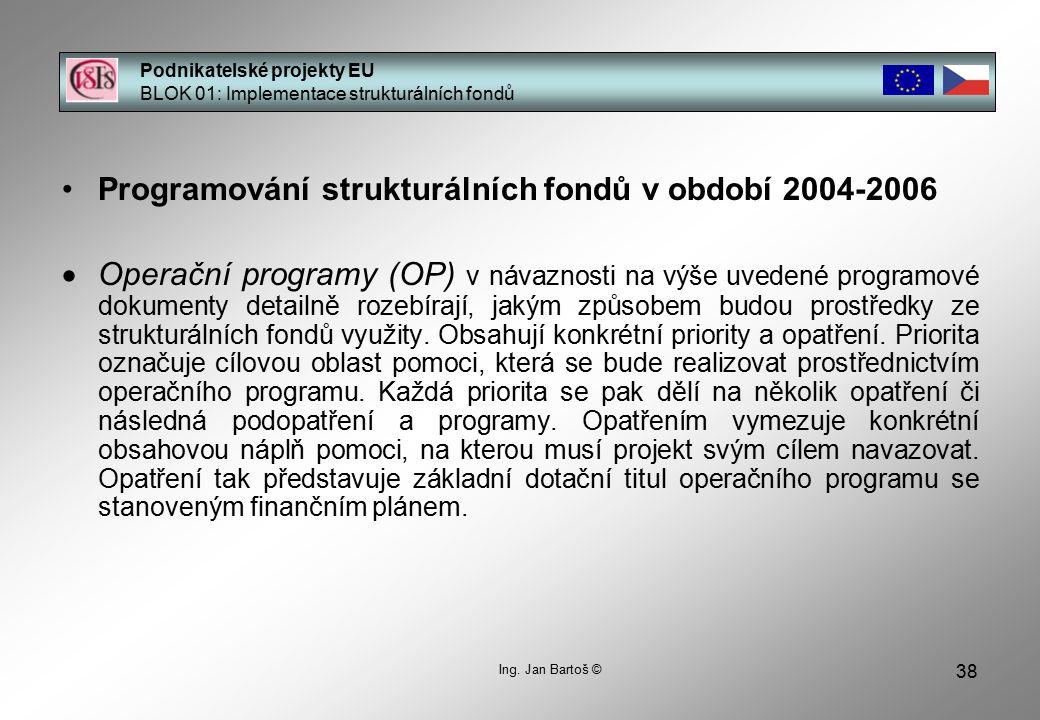 38 Podnikatelské projekty EU BLOK 01: Implementace strukturálních fondů Ing.