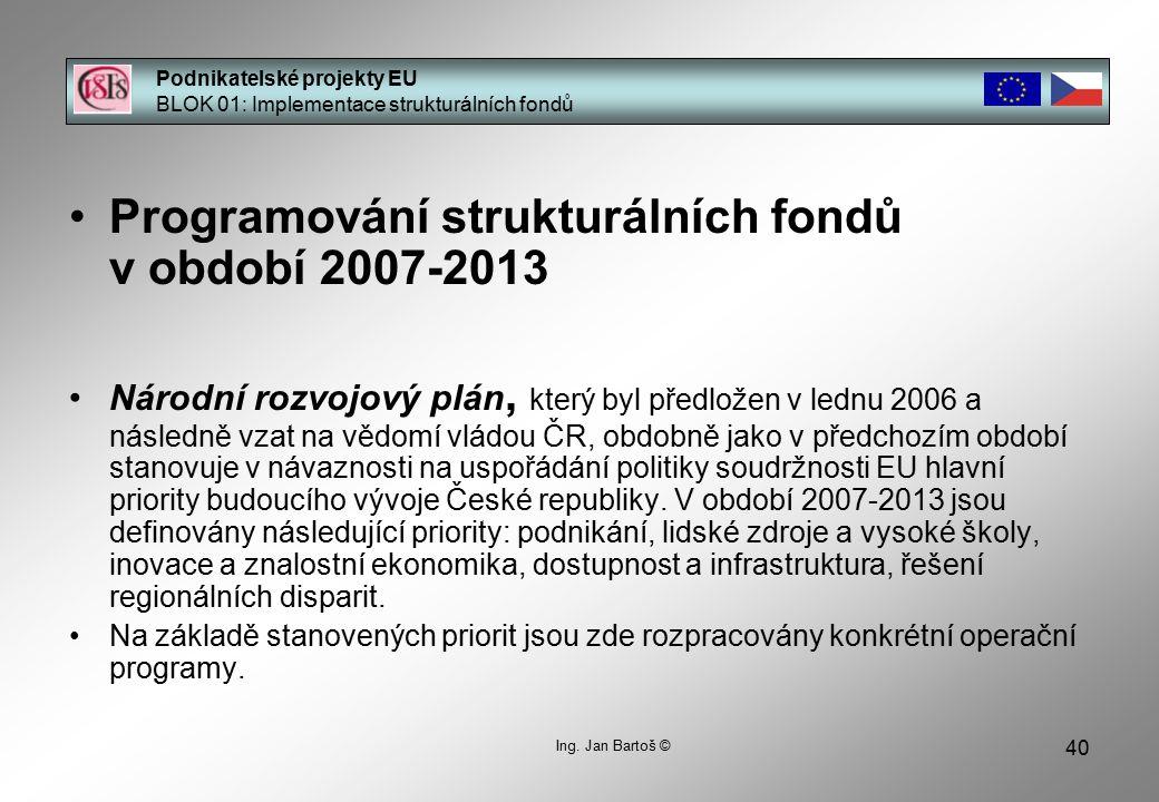 40 Podnikatelské projekty EU BLOK 01: Implementace strukturálních fondů Ing.