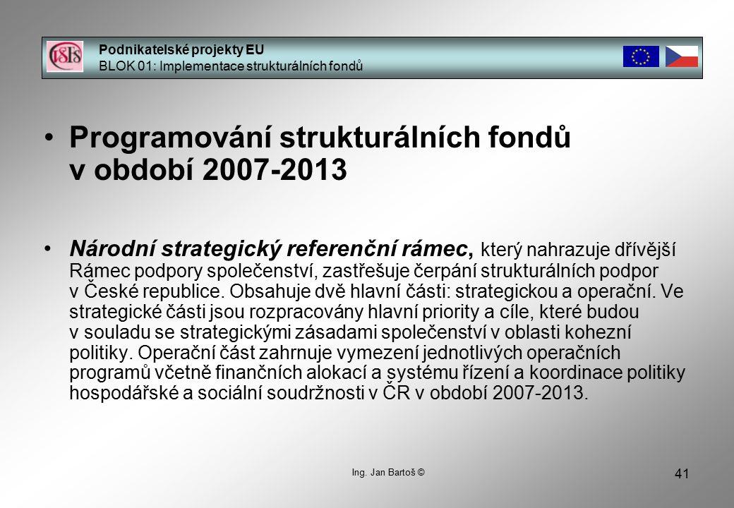 41 Podnikatelské projekty EU BLOK 01: Implementace strukturálních fondů Ing.