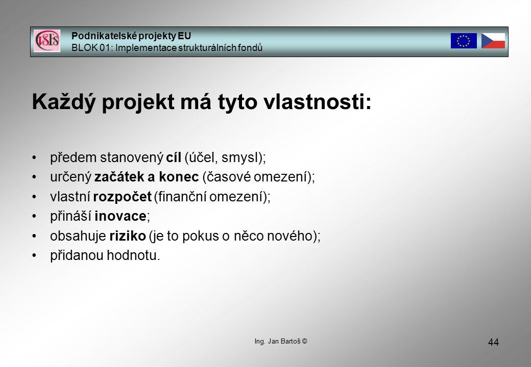 44 Podnikatelské projekty EU BLOK 01: Implementace strukturálních fondů Ing.