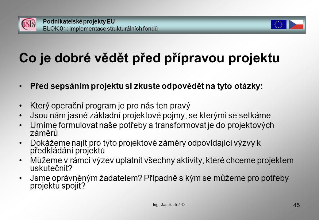 45 Podnikatelské projekty EU BLOK 01: Implementace strukturálních fondů Ing.