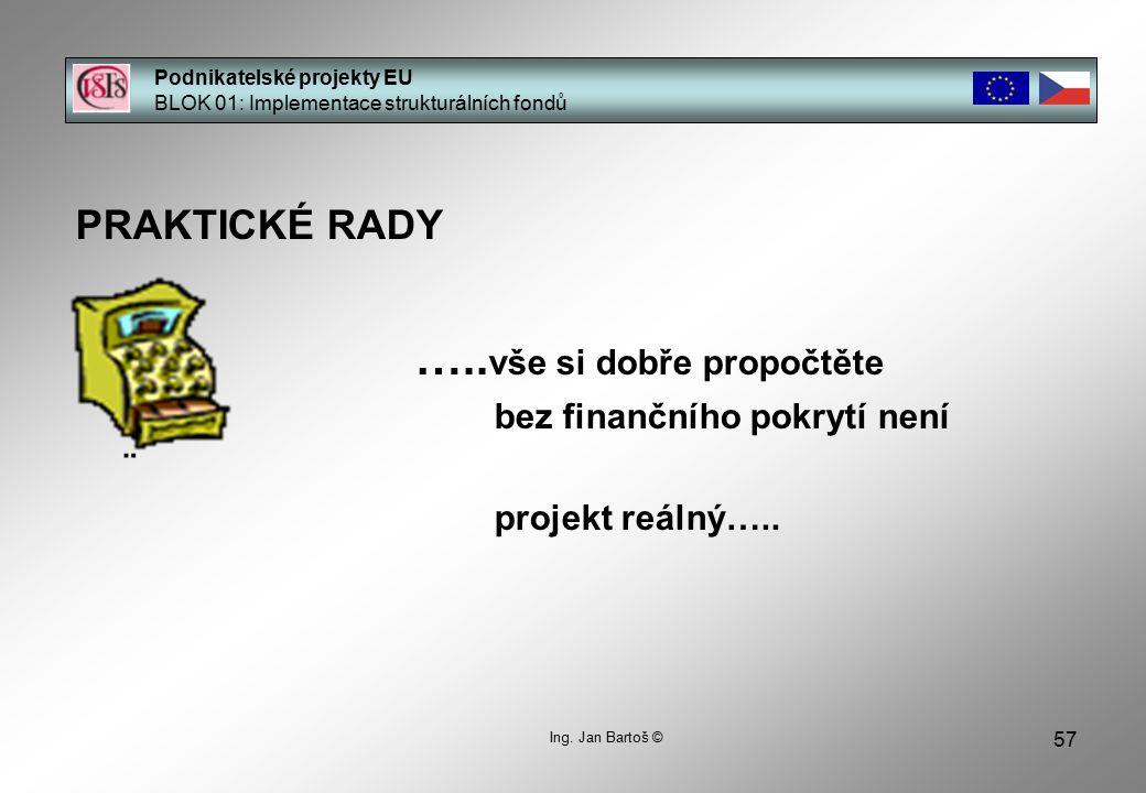 57 Podnikatelské projekty EU BLOK 01: Implementace strukturálních fondů Ing.