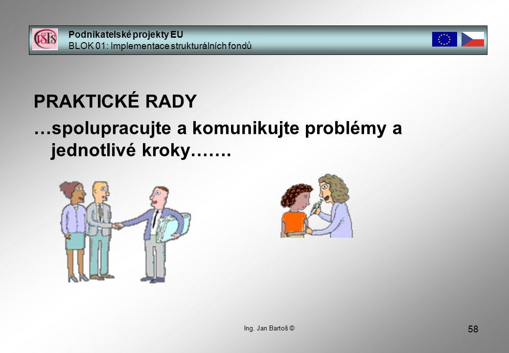 58 Podnikatelské projekty EU BLOK 01: Implementace strukturálních fondů Ing.