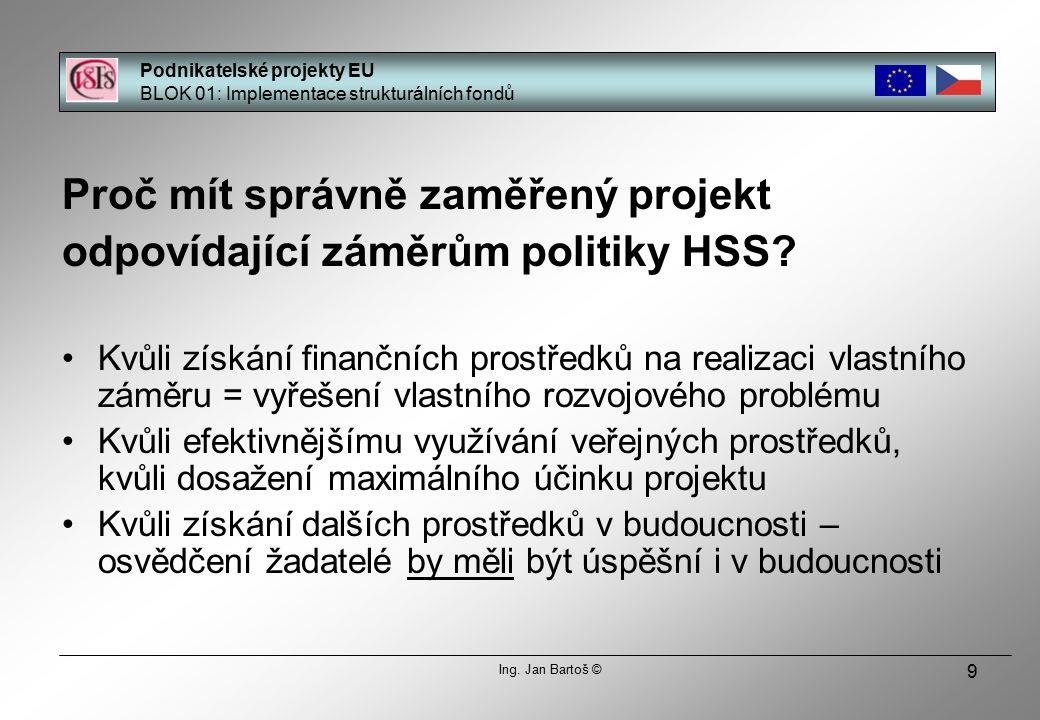 20 Princip adicionality » finance ze SF EU nesmí nahradit finanční zdroje členského státu, ale doplňkově je navýšit » absolutní i relativní míra finanční podpory je obecně vyšší, čím horší hodnoty vykazují sledované indikátory regionu – národní zdroje se pak stávají spíše doplňkovými k evropským » národní zdroje – zdroje státního rozpočtu, krajů, obcí, ekonomických subjektů » každý projekt může být kofinancován z různých zdrojů Podnikatelské projekty EU BLOK 01: Implementace strukturálních fondů Ing.
