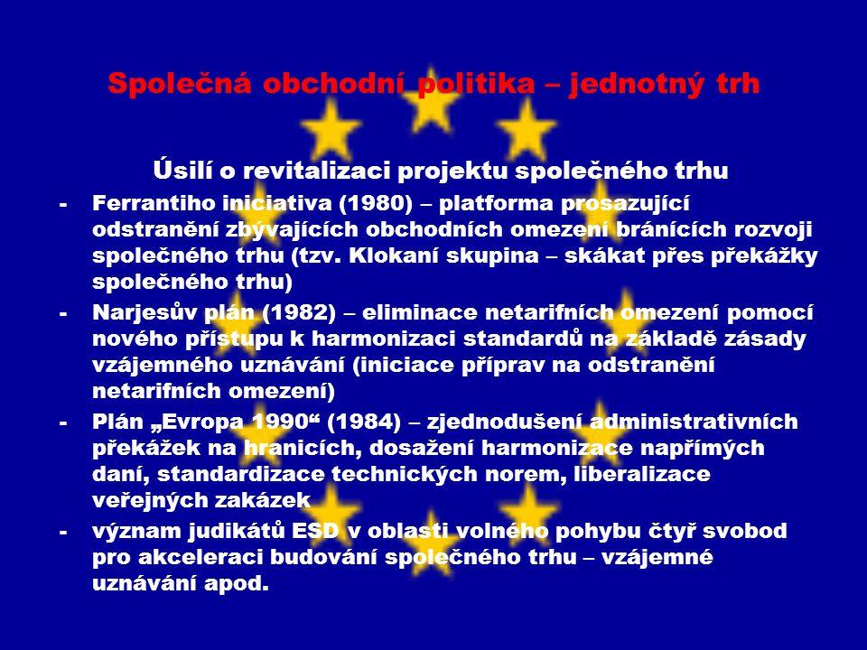 Společná obchodní politika – jednotný trh Úsilí o revitalizaci projektu společného trhu -Ferrantiho iniciativa (1980) – platforma prosazující odstraně