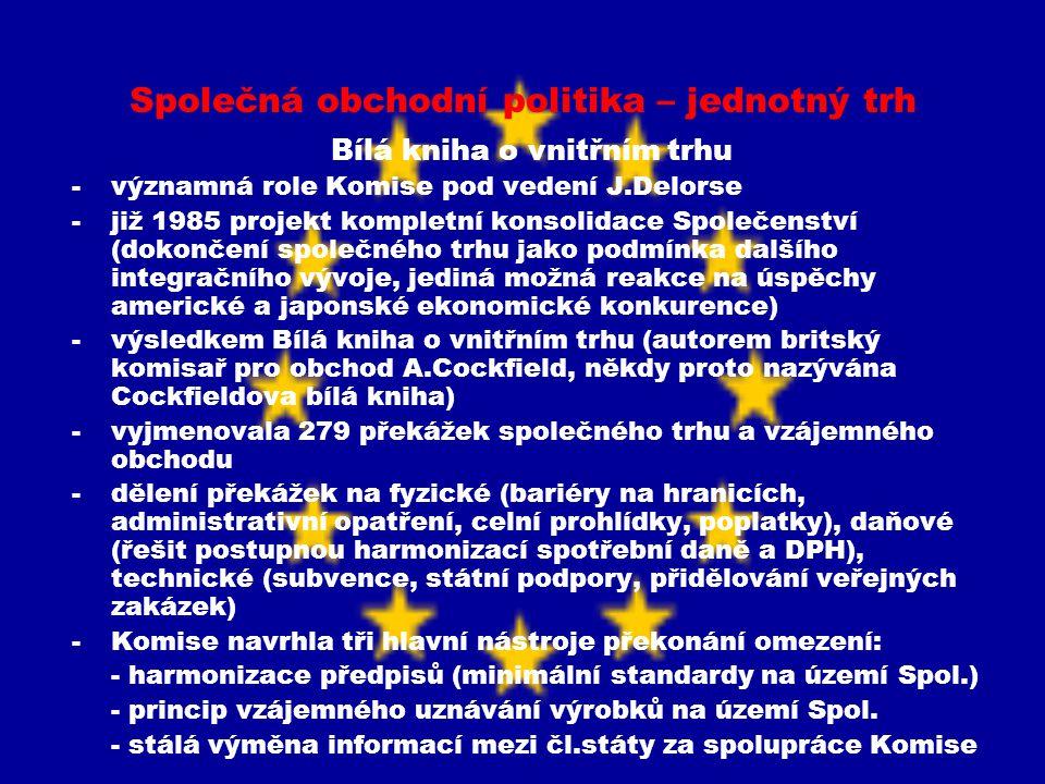 Společná obchodní politika – jednotný trh Jednotný evropský akt (1987) a jeho význam pro dokončování společného trhu -první všeobecná revize primárního práva, jehož klíčovou oblastí bylo obnovení dynamiky projektu společného trhu -potvrdil v primárním právu rok 1992 jako datum pro vytvoření společného trhu -u výjimek přepokládal pouze dočasnou povahu a co nejmenší rušivý efekt na fungování společného trhu -pozornost také na volný pohyb osob a služeb -změna mechanismu hlasování v Radě – v otázkách vnitřního trhu hlasování kvalifikovanou většinou -požadavek aplikace principu vzájemného uznávání -potvrdil vazbu mezi institucionální reformou a integračním posunem v oblasti jednotlivých politik -dohoda o zrychlení budování společného trhu zasazeno do širšího kontextu -shoda mezi čl.zeměmi (proces ratifikace JEA nenarazil na významné obtíže)