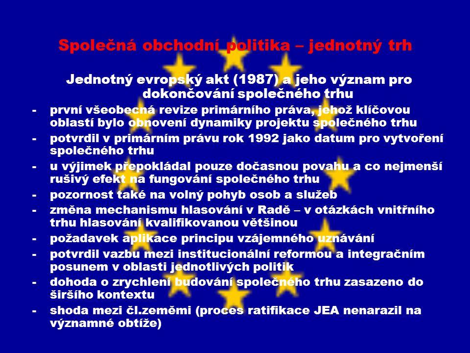 Společná obchodní politika – jednotný trh Jednotný evropský akt (1987) a jeho význam pro dokončování společného trhu -první všeobecná revize primárníh