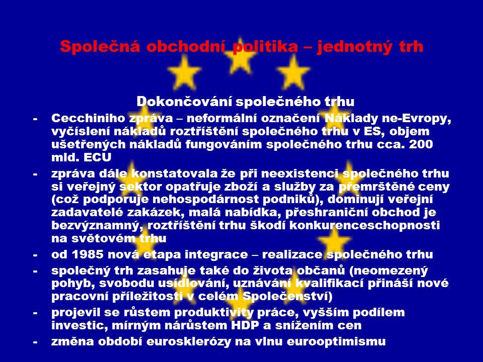 Společná obchodní politika – jednotný trh Dokončování společného trhu -Cecchiniho zpráva – neformální označení Náklady ne-Evropy, vyčíslení nákladů ro