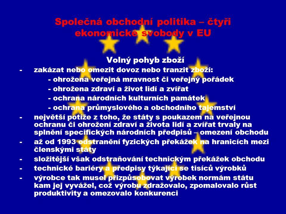 Společná obchodní politika – čtyři ekonomické svobody v EU Volný pohyb zboží -dva způsoby k řešení situace – a) navzájem uznávat národní technické požadavky na výroby, b) harmonizací sjednotit odlišné technické předpisy -vzájemné uznávání rozšířeno díky rozhodnutí ESD ve věci Cassis de Dijon – výrobek legálně vyrobený a uvedený na trh v jednom čl.státě musí mít možnost přístupu na trhy v ostatních čl.státech bez ohledu na to zda odpovídá předpisům stanoveným těmito státy -použití principu vzájemného uznávání není možné u velice podstatných rozdílů mezi národními úpravami členských států – řešeno sjednocením technických požadavků tj.