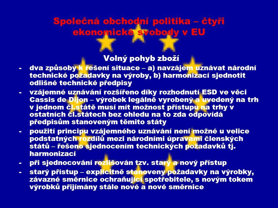 Společná obchodní politika – čtyři ekonomické svobody v EU Volný pohyb zboží -dva způsoby k řešení situace – a) navzájem uznávat národní technické pož