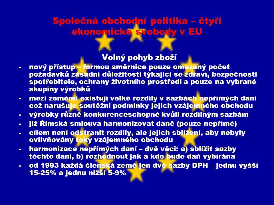 Společná obchodní politika – čtyři ekonomické svobody v EU Volný pohyb zboží -výběr daně prováděn dvěma způsoby: a) v zemi původu (vyvážející), b) v zemi určení (dovážející) -stále však země před přechodem hranic zbavena DPH (refundována) a nová DPH je uvalena v příchozí zemi – nyní však není nutno tuto transakci provádět na hranicích -v budoucím systému výběru DPH má být dodržována zásada, že DPH zůstává v zemi, v níž vznikla -bariéry vzájemného obchodu mohou nastat i při výrazných rozdílech ve výši spotřební daně – proces harmonizace není dosud ukončen, od 1992 v platnosti její minimální sazby -hranice sice zůstaly zachovány, přestaly však být bariérou volného obchodu mezi členskými státy -roztříštěnost evropského trhu v oblasti pohybu zboží byla odstraněna, aniž byla popřena samostatnost a identita členských států