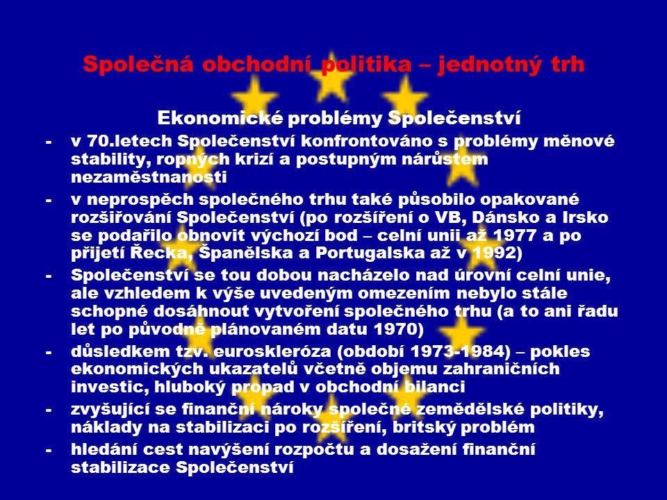 Společná obchodní politika – jednotný trh Ekonomické problémy Společenství -v 70.letech Společenství konfrontováno s problémy měnové stability, ropnýc