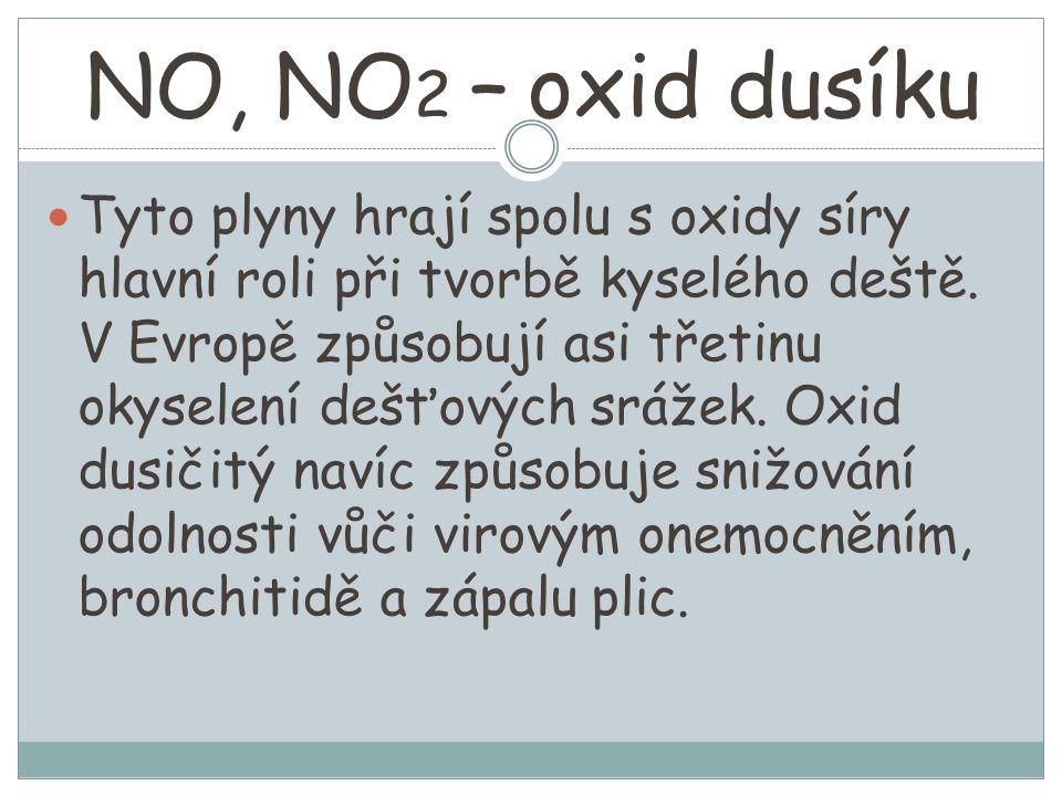 NO, NO 2 – oxid dusíku Tyto plyny hrají spolu s oxidy síry hlavní roli při tvorbě kyselého deště.