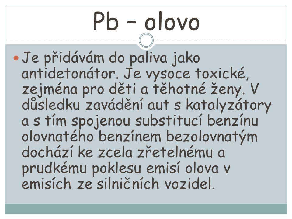 Pb – olovo Je přidávám do paliva jako antidetonátor. Je vysoce toxické, zejména pro děti a těhotné ženy. V důsledku zavádění aut s katalyzátory a s tí