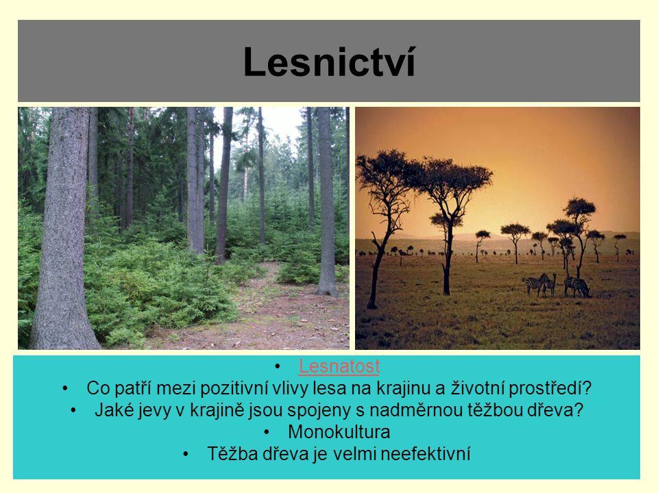 Lesnictví Lesnatost Co patří mezi pozitivní vlivy lesa na krajinu a životní prostředí? Jaké jevy v krajině jsou spojeny s nadměrnou těžbou dřeva? Mono