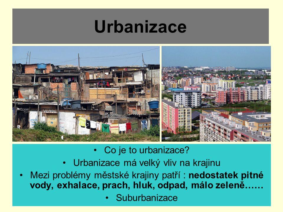 Urbanizace Co je to urbanizace? Urbanizace má velký vliv na krajinu Mezi problémy městské krajiny patří : nedostatek pitné vody, exhalace, prach, hluk