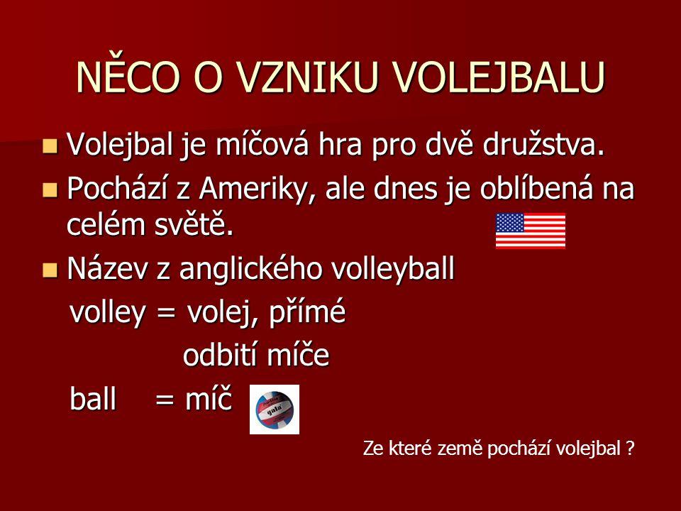 NĚCO O VZNIKU VOLEJBALU Volejbal je míčová hra pro dvě družstva.