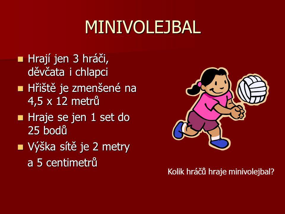 MINIVOLEJBAL Hrají jen 3 hráči, děvčata i chlapci Hřiště je zmenšené na 4,5 x 12 metrů Hraje se jen 1 set do 25 bodů Výška sítě je 2 metry a 5 centimetrů Kolik hráčů hraje minivolejbal?