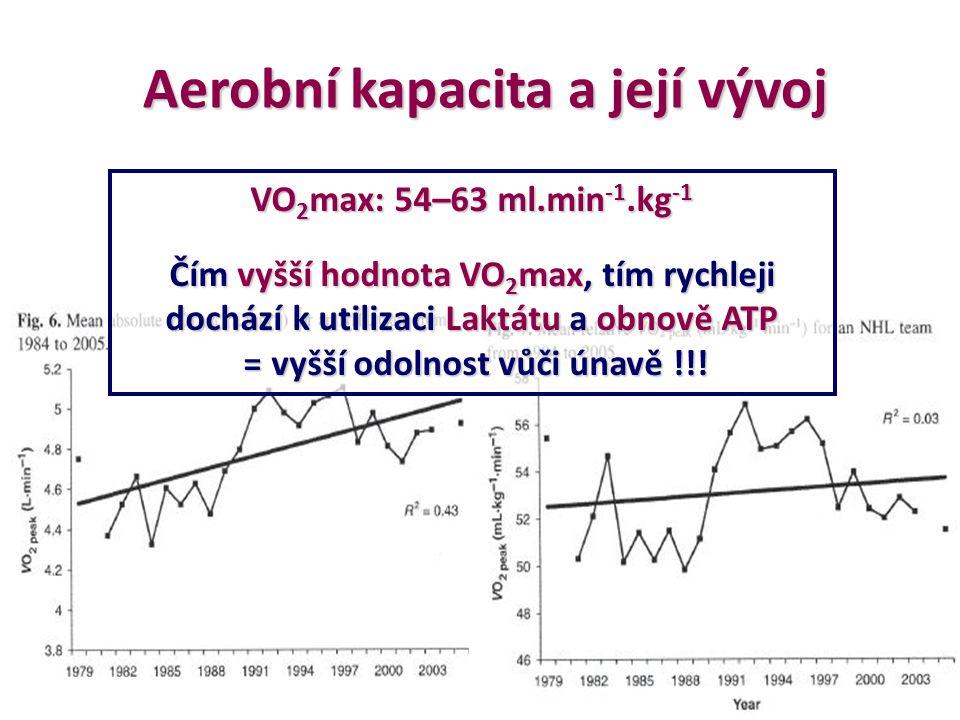 VO 2 max: 54–63 ml.min -1.kg -1 Čím vyšší hodnota VO 2 max, tím rychleji dochází k utilizaci Laktátu a obnově ATP = vyšší odolnost vůči únavě !!! = vy