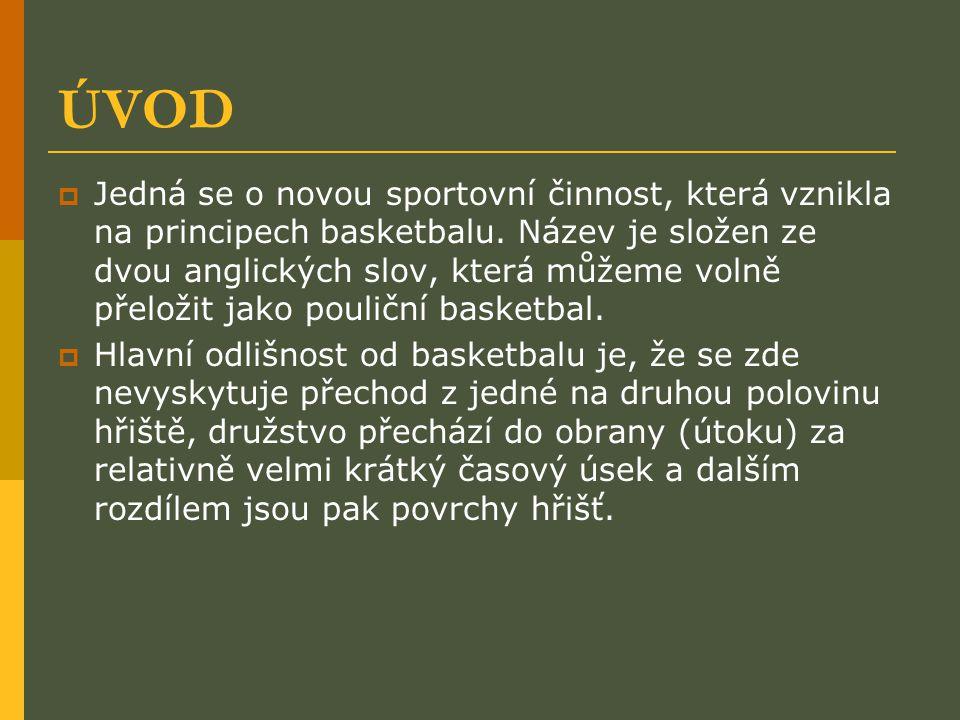 ÚVOD  Jedná se o novou sportovní činnost, která vznikla na principech basketbalu. Název je složen ze dvou anglických slov, která můžeme volně přeloži