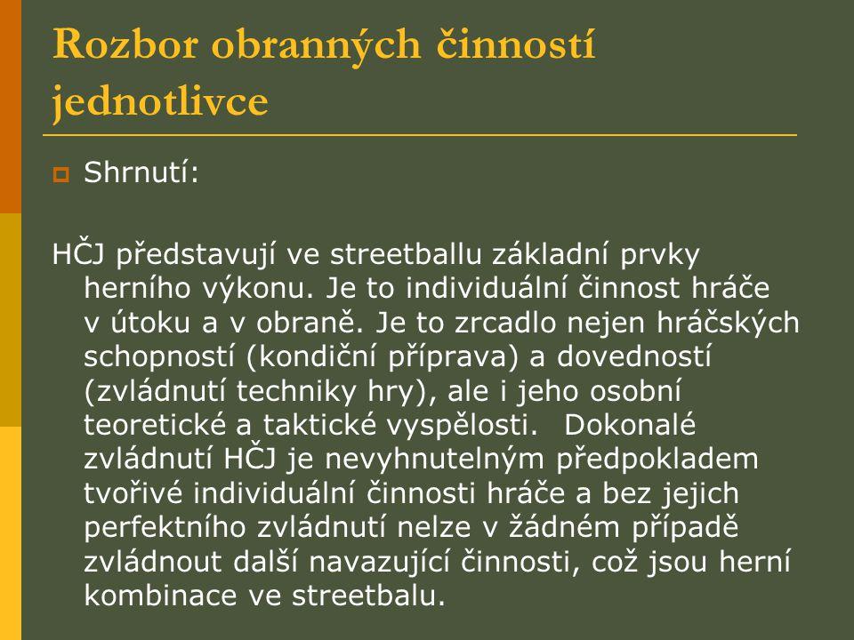 Rozbor obranných činností jednotlivce  Shrnutí: HČJ představují ve streetballu základní prvky herního výkonu. Je to individuální činnost hráče v útok