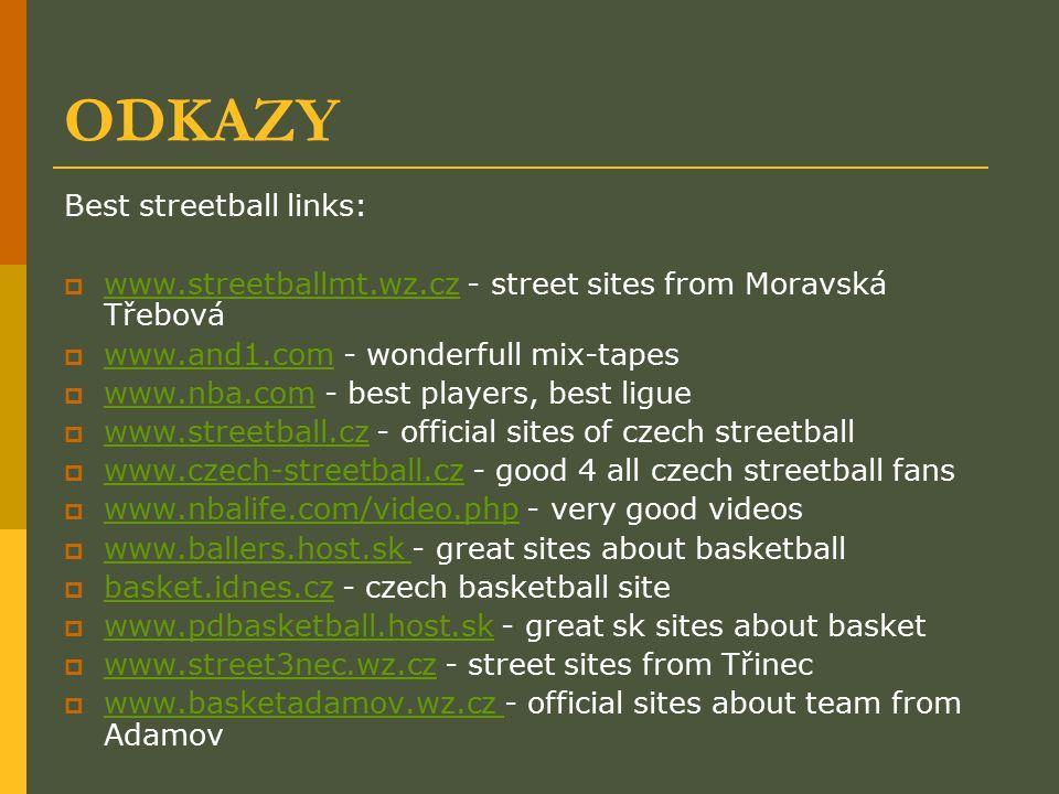 ODKAZY Best streetball links:  www.streetballmt.wz.cz - street sites from Moravská Třebová www.streetballmt.wz.cz  www.and1.com - wonderfull mix-tap