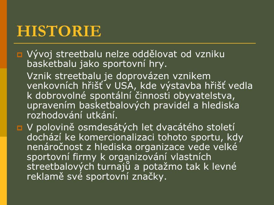 HISTORIE  Vývoj streetbalu nelze oddělovat od vzniku basketbalu jako sportovní hry. Vznik streetbalu je doprovázen vznikem venkovních hřišť v USA, kd