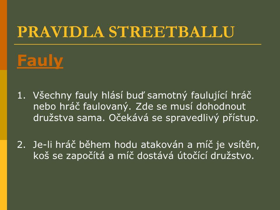 PRAVIDLA STREETBALLU Fauly 1. Všechny fauly hlásí buď samotný faulující hráč nebo hráč faulovaný. Zde se musí dohodnout družstva sama. Očekává se spra
