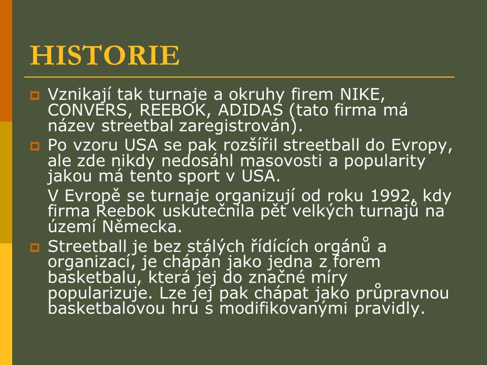 HISTORIE  Vznikají tak turnaje a okruhy firem NIKE, CONVERS, REEBOK, ADIDAS (tato firma má název streetbal zaregistrován).  Po vzoru USA se pak rozš