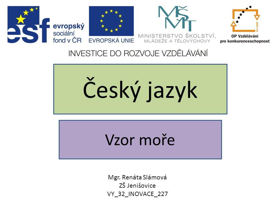 Vzor moře Český jazyk Mgr. Renáta Slámová ZŠ Jenišovice VY_32_INOVACE_227