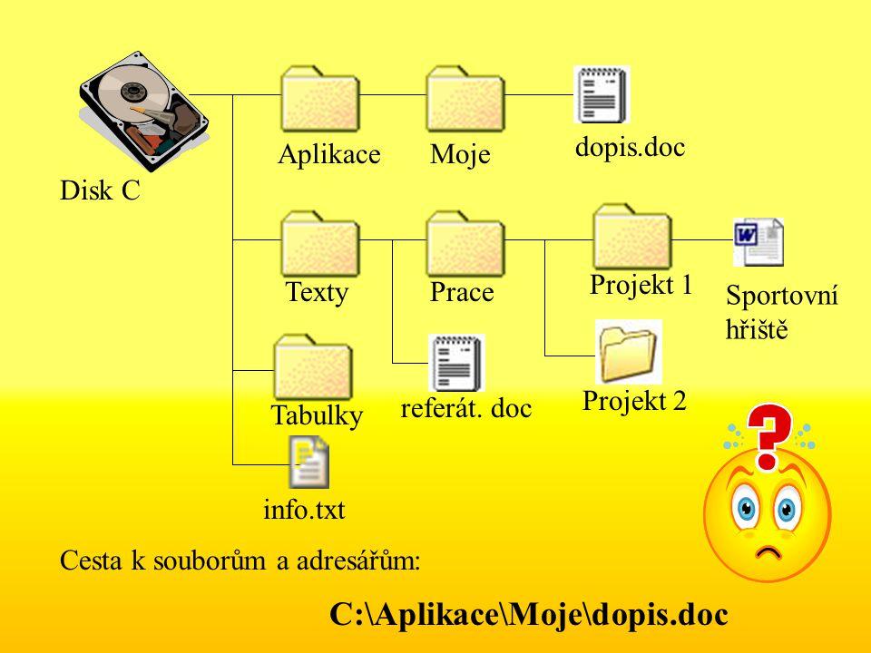 Disk C AplikaceMoje dopis.doc TextyPrace Projekt 1 Projekt 2 info.txt Tabulky referát.