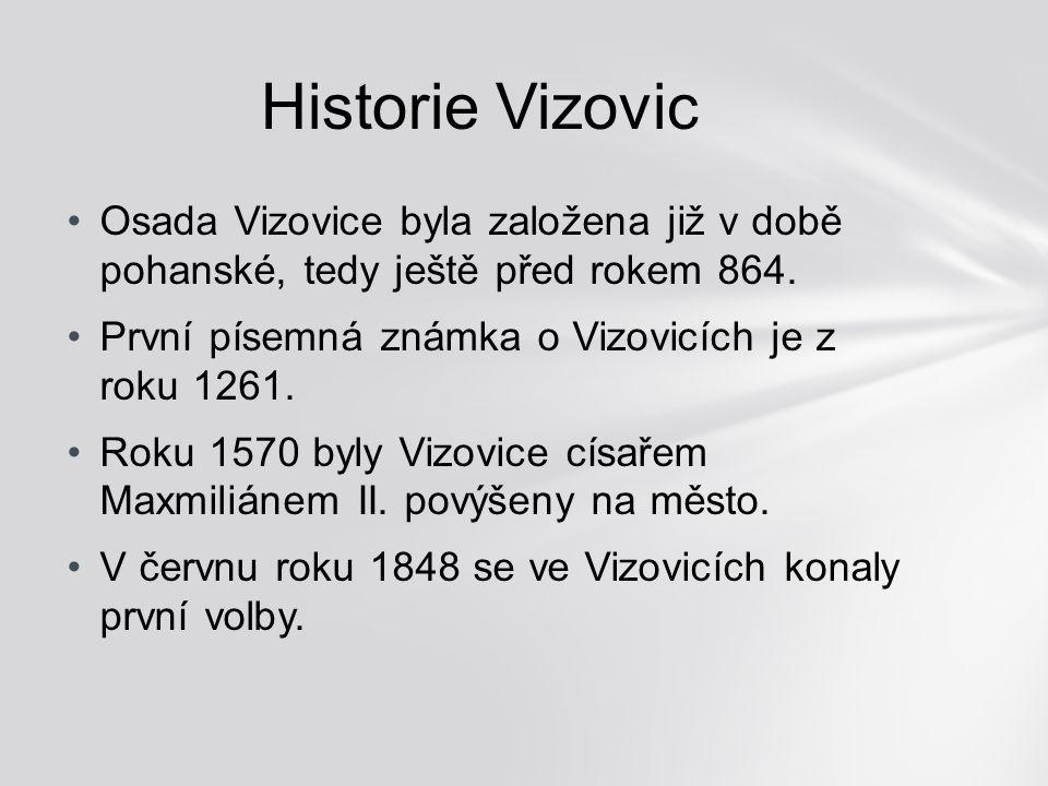Osada Vizovice byla založena již v době pohanské, tedy ještě před rokem 864. První písemná známka o Vizovicích je z roku 1261. Roku 1570 byly Vizovice