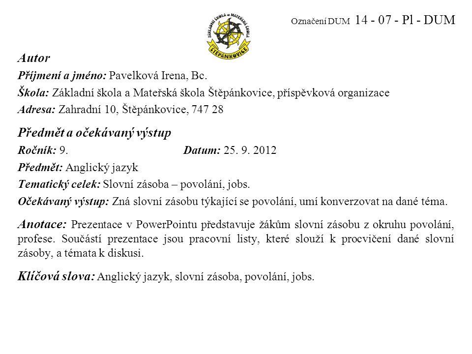 JOBS Slovní zásoba - Povolání