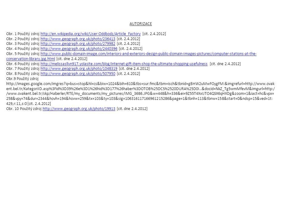 AUTORIZACE Obr. 1 Použitý zdroj http://en.wikipedia.org/wiki/User:Oddbodz/Article_Factory [cit. 2.4.2012]http://en.wikipedia.org/wiki/User:Oddbodz/Art