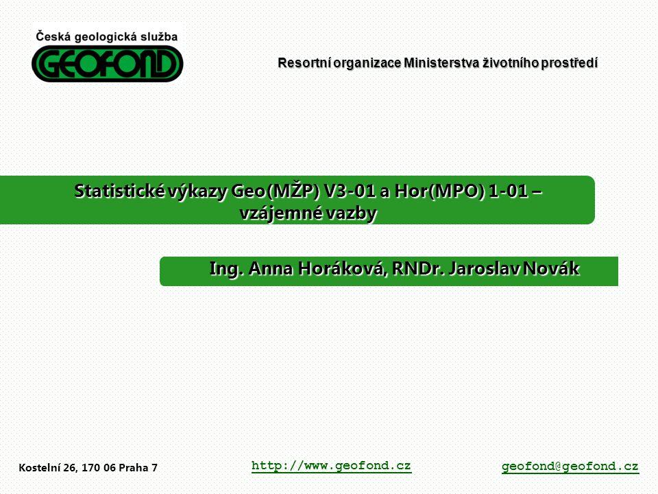 2 Výkazy Geo(MŽP) a Hor(MPO) 1-01 18.6.2009 Statistické výkazy Geo(MŽP) V3-01 a Hor(MPO) 1-01 – vzájemné vazby Ing.