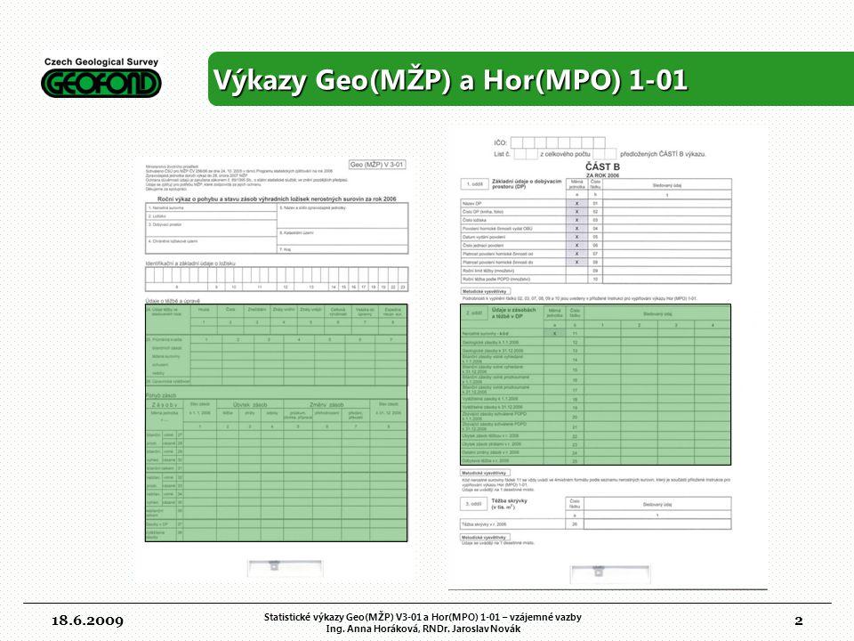 3 Hrubá a čistá těžba v Geo(MŽP) V3-1 18.6.2009 Statistické výkazy Geo(MŽP) V3-01 a Hor(MPO) 1-01 – vzájemné vazby Ing.