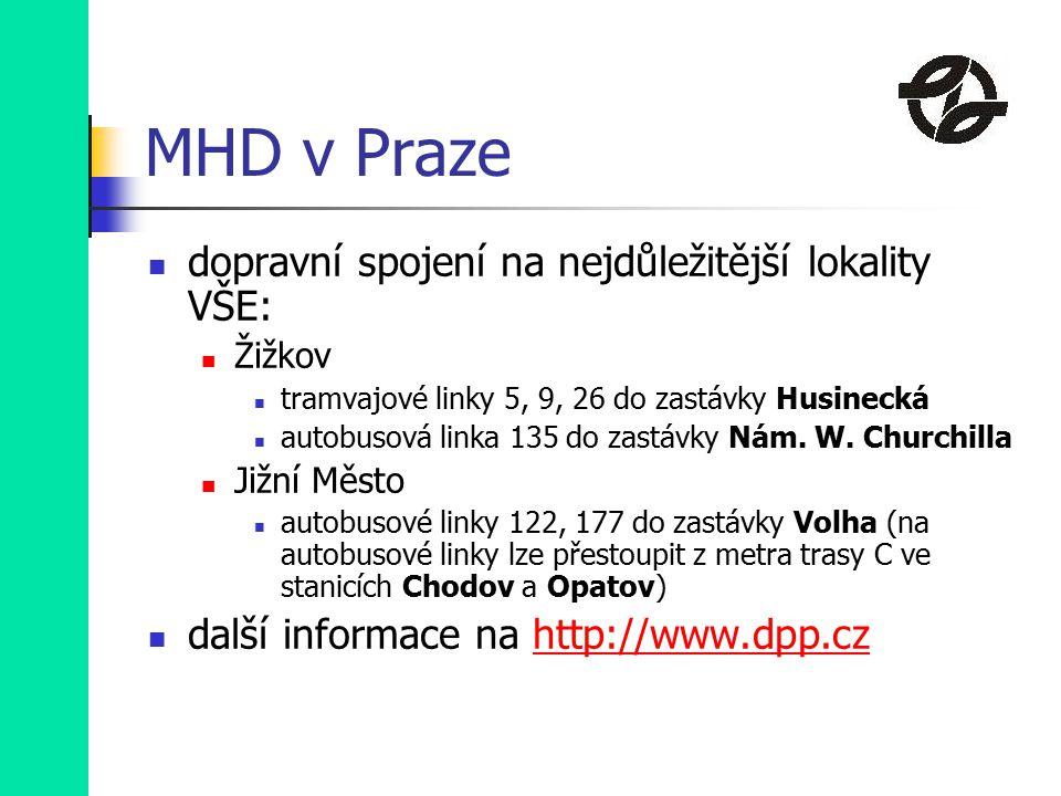 MHD v Praze dopravní spojení na nejdůležitější lokality VŠE: Žižkov tramvajové linky 5, 9, 26 do zastávky Husinecká autobusová linka 135 do zastávky Nám.