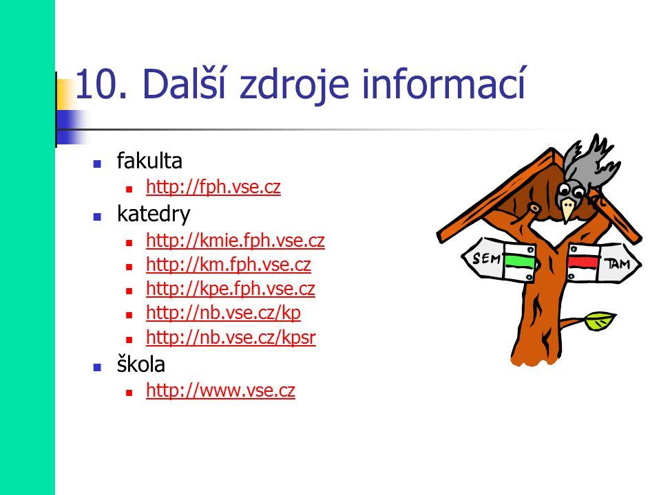 10. Další zdroje informací fakulta http://fph.vse.cz katedry http://kmie.fph.vse.cz http://km.fph.vse.cz http://kpe.fph.vse.cz http://nb.vse.cz/kp htt