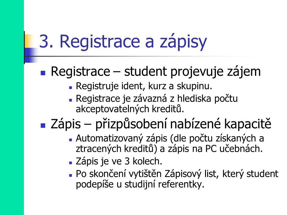 3. Registrace a zápisy Registrace – student projevuje zájem Registruje ident, kurz a skupinu.