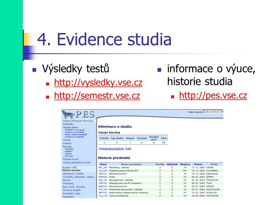 4. Evidence studia Výsledky testů http://vysledky.vse.cz http://semestr.vse.cz informace o výuce, historie studia http://pes.vse.cz