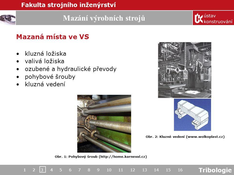 Tribologie Mazání výrobních strojů Fakulta strojního inženýrství 1 2 3 4 5 6 7 8 9 10 11 12 13 14 15 161 2 3 4 5 Mazaná místa ve VS kluzná ložiska val