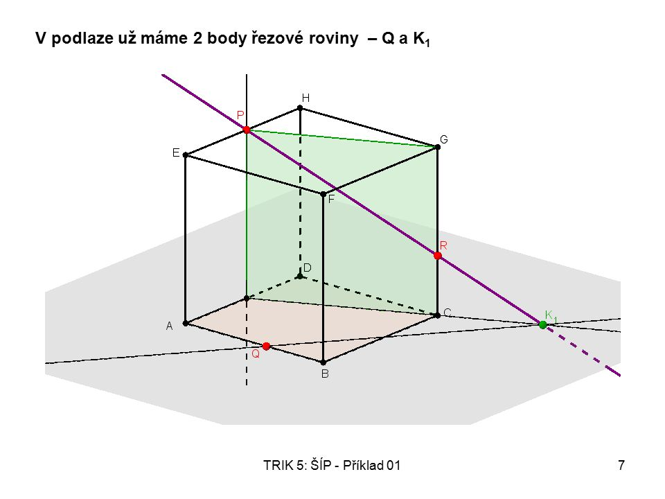 TRIK 5: ŠÍP - Příklad 017 V podlaze už máme 2 body řezové roviny – Q a K 1